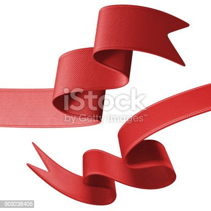 istock 3d red festive ribbon banner set, isolated object 503238405