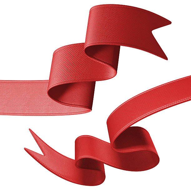 3d red festive ribbon banner set, isolated object stock photo