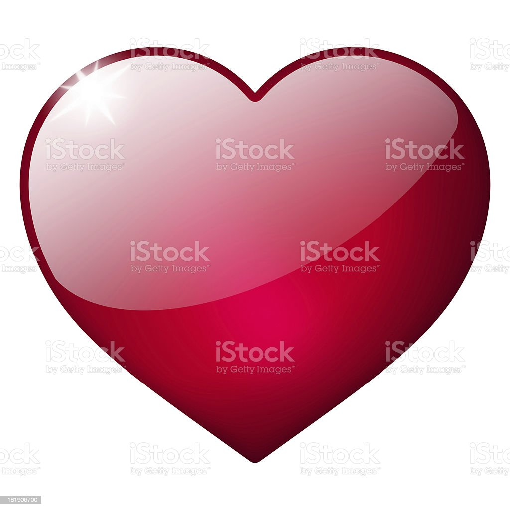 3d red heart button stock photo