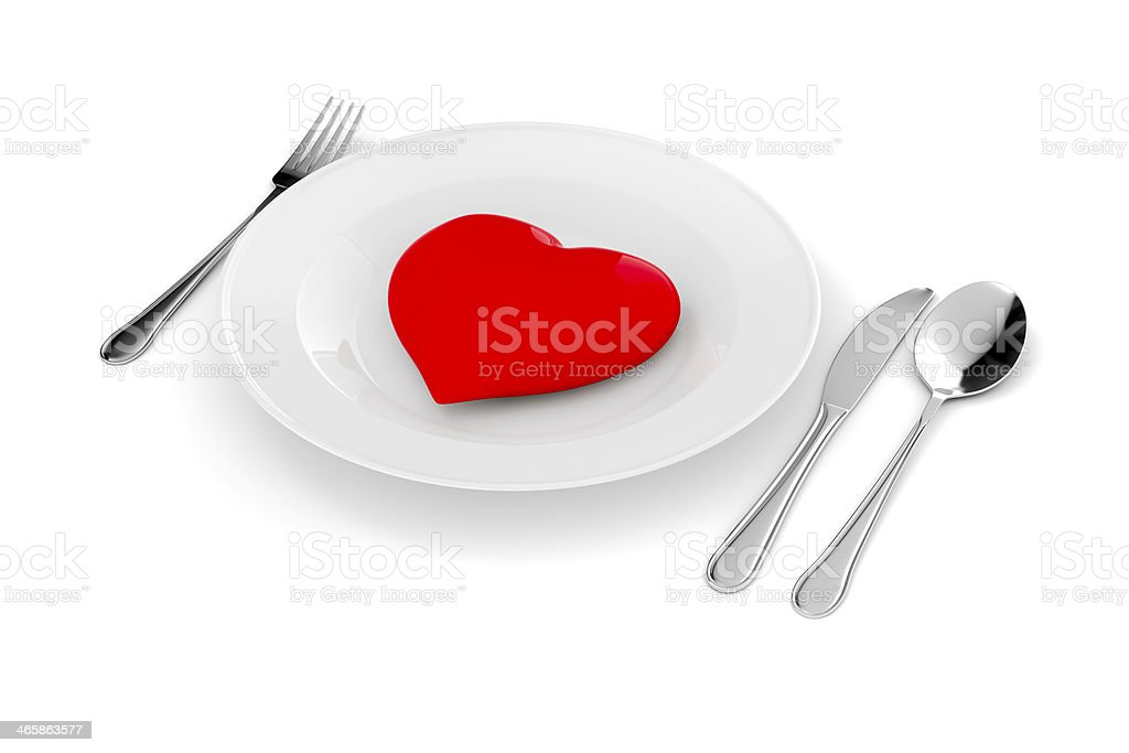 3d red heart on a plate royalty-free stock photo