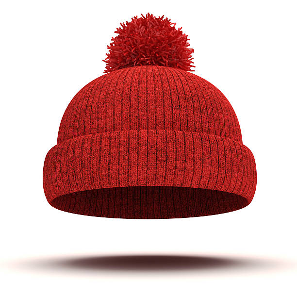 3d red knitted winter cap on white background 3d red knitted winter cap on white background knit hat stock pictures, royalty-free photos & images