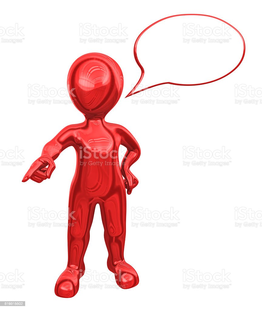 3d red man with speech bubble gives the order. stock photo