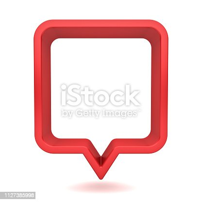 1125351850istockphoto 3d red speech bubble or blank red rounded square chat pin isolated on white background with shadow 3D rendering 1127385998