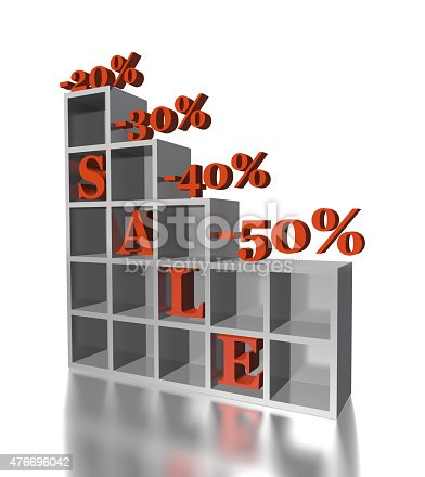 istock 3d red text SALE 20, 30, 40, 50 % 476696042