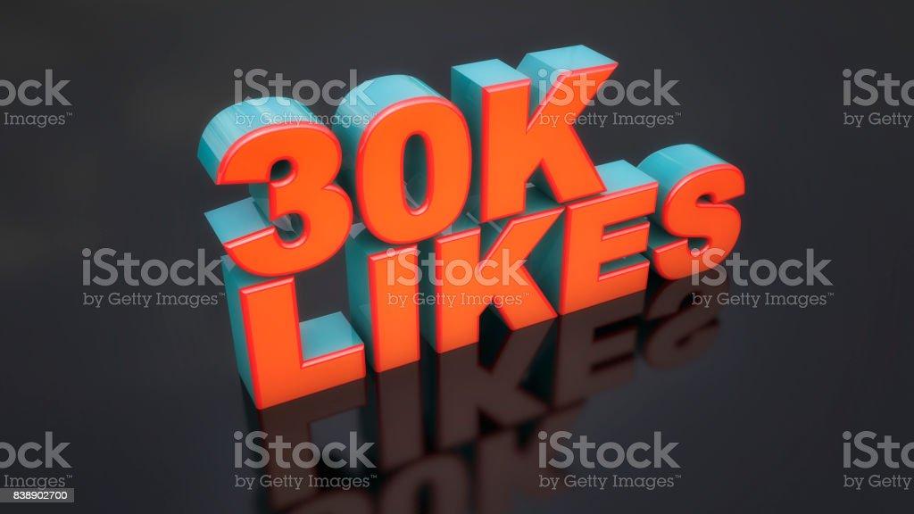 3d render. 3d 30k likes text stock photo
