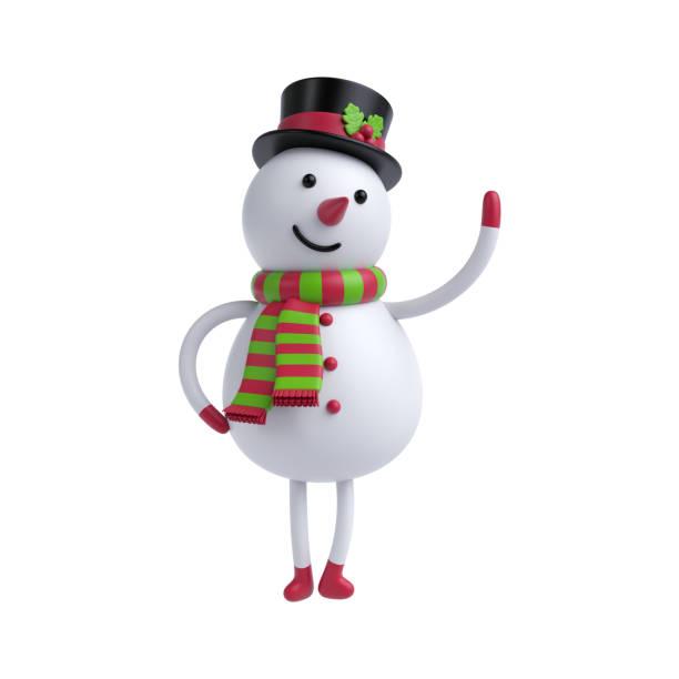 3d rendering, 3d illustration, niedlichen cartoon schneemann isoliert auf weißem hintergrund, weihnachtsgrußkarte urlaub spielzeug - cartoon kostüme stock-fotos und bilder