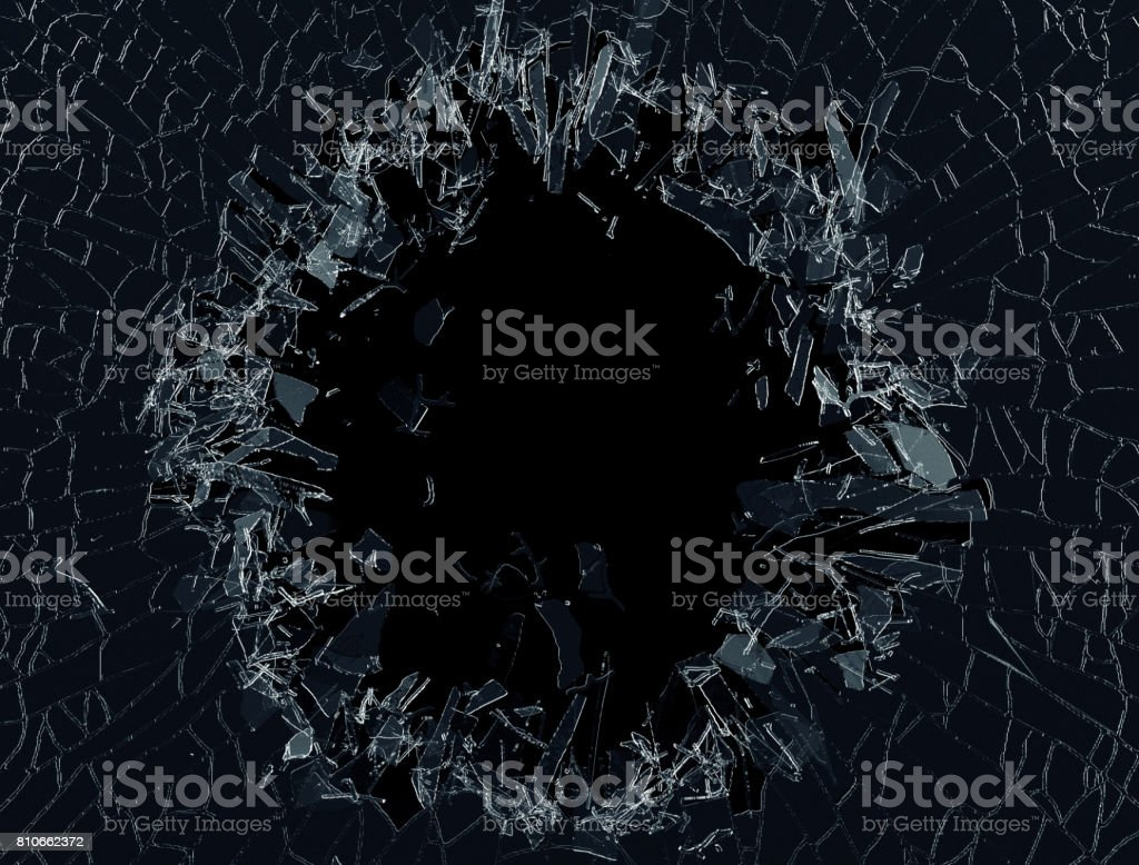 3d render, 3d illustration, explosion, broken glass , bullet hole, destruction, abstract cracked glass background stock photo