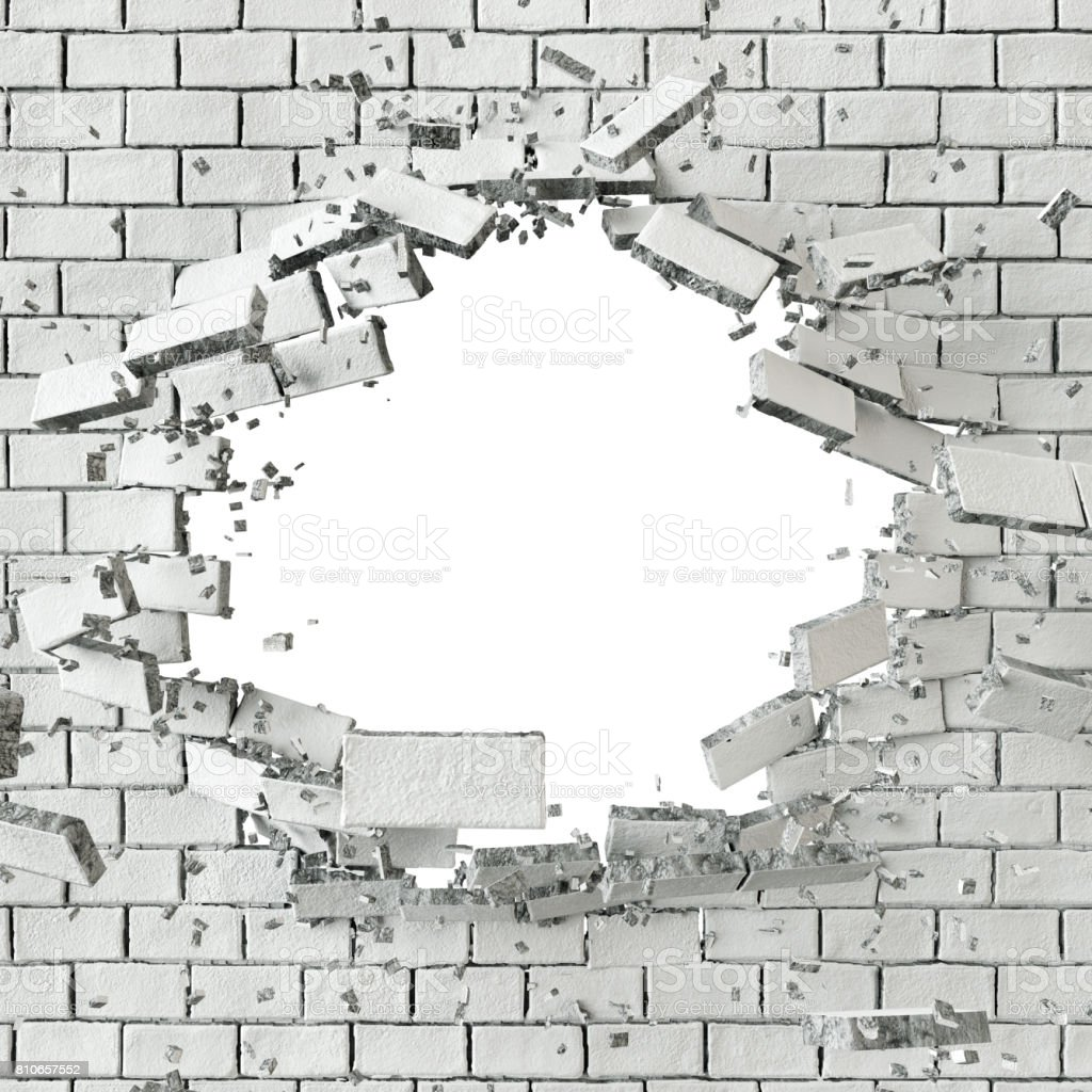 3d Render 3d Illustration Explosion Cracked Brick Wall Bullet Hole