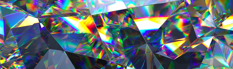 istock 3d render, abstract amethyst crystal background, faceted texture, gem macro, panorama, wide panoramic polygonal wallpaper 658466164