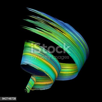 921375446istockphoto 3d render, abstract artistic spiral brush stroke, yellow blue green paint smear, splash, colorful curl, spectrum palette, splatter, curvy ribbon 942746728