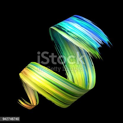 921375446istockphoto 3d render, abstract artistic spiral brush stroke, yellow blue green paint smear, splash, colorful curl, spectrum palette, splatter, curvy ribbon 942746740