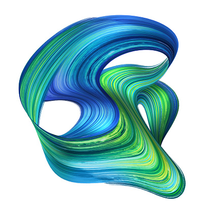 3d render, abstract artistic splashing shape, brush stroke, paint splash, green blue purple splatter, loops, modern dynamic lines, clip art isolated on white background