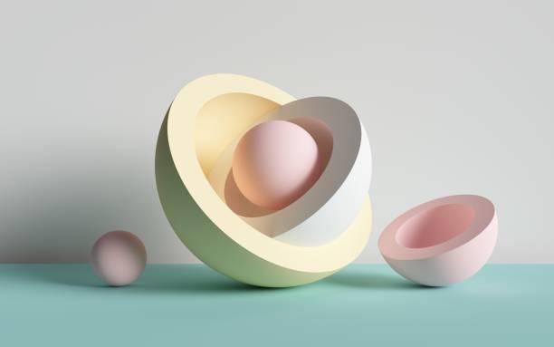 3d 渲染、抽象背景、球、原始幾何形狀、柔和的調色板、簡單的模型、最小的設計項目 - 球狀體 個照片及圖片檔