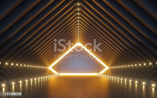 istock 3d render, abstract background, corridor, tunnel, virtual reality space, yellow neon lights, fashion podium, club interior, empty warehouse, floor reflection 1141496049