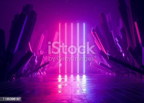 istock 3d render, abstract background, cosmic landscape, alien portal, pink blue neon light, virtual reality, energy source, glowing laser lines, dark space, ultraviolet spectrum, mountains, rocks, ground 1135398187