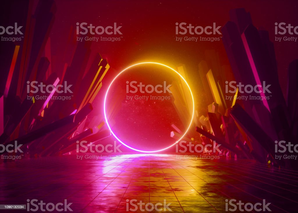 3d Render Abstract Background Cosmic Landscape Round Portal