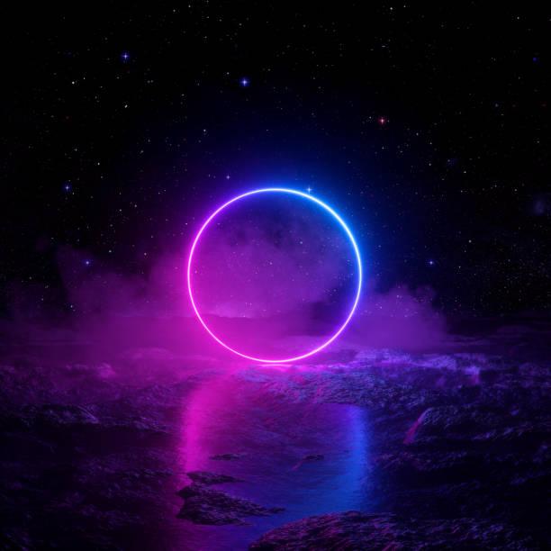3d 渲染, 抽象的背景, 宇宙景觀, 圓形門戶, 粉紅色的藍色霓虹燈, 虛擬實境, 能源, 發光的圓形框架, 黑暗的空間, 紫外線光譜, 鐳射環, 霧, 地面 - 霓虹燈 個照片及圖片檔