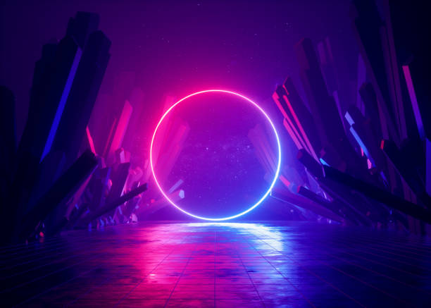 3d render, abstract background, cosmic landscape, round portal, pink blue neon light, virtual reality, energy source, glowing round frame, dark space, ultraviolet spectrum, laser ring, rocks, ground - turno sportivo foto e immagini stock