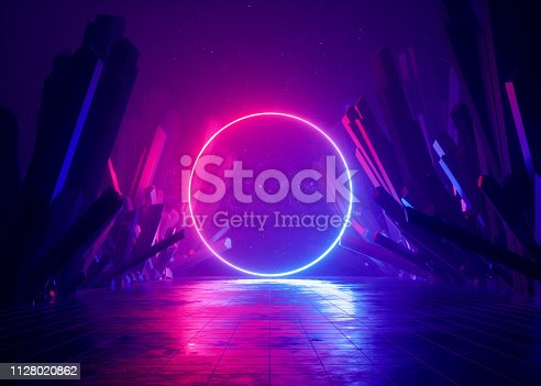 istock 3d render, abstract background, cosmic landscape, round portal, pink blue neon light, virtual reality, energy source, glowing round frame, dark space, ultraviolet spectrum, laser ring, rocks, ground 1128020862