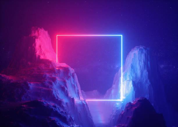 3d 렌더링, 추상적인 배경, 우주의 풍경, 평방 포털, 핑크 블루 네온 빛, 가상 현실, 에너지 소스, 빛나는 쿼드, 어두운 공간, 자외선 스펙트럼, 레이저 프레임, 연기, 안개, 바위 - 자외선 차단 뉴스 사진 이미지