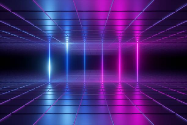 3d Render Abstract Background Empty Room Night Club Stage Neon