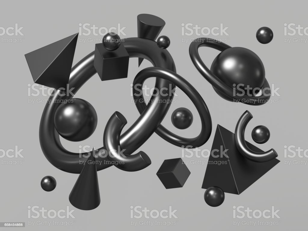 3d render, abstract background, falling geometric primitive shapes, black elements isolated on grey background stock photo