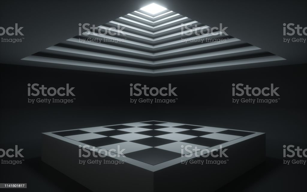 3d Render Abstract Background Geometrical Shapes Chess Board