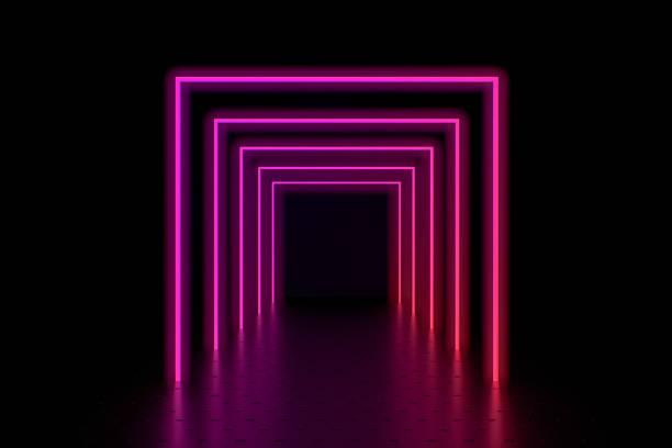 3D Render abstrakten Hintergrund, leuchtende Linien, Lichttunnel, Neonlichter, virtual-Reality-Konzept. – Foto
