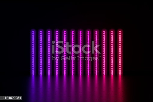 3d render  glowing lines, neon light on black abstract background.