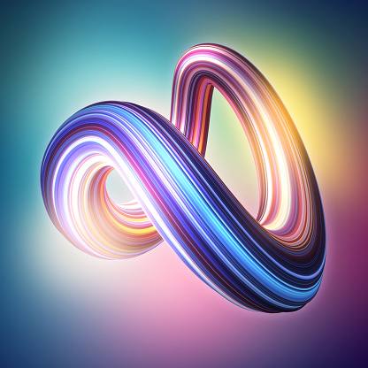 istock 3d render, abstract background, modern curved shape, deformation, loop, colorful lines, glowing neon light, ultraviolet spectrum, candy colors, glitch effect, isolated distorted object 1072261528