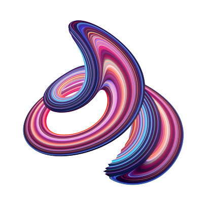istock 3d render, abstract background, modern curved shape, loop, colorful lines, neon light, red blue candy colors, distorted object isolated on white 1080308902
