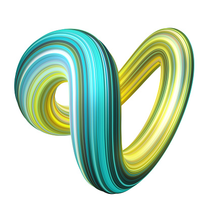 istock 3d render, abstract background, modern curved shape, loop, colorful lines, neon light, yellow mint green candy colors, distorted object isolated on white 1080309076