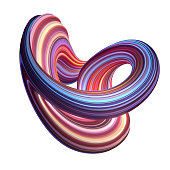 3d render, abstract background, modern curved shape, loop, deformation, colorful lines, neon light, red blue candy colors, distorted object isolated on white