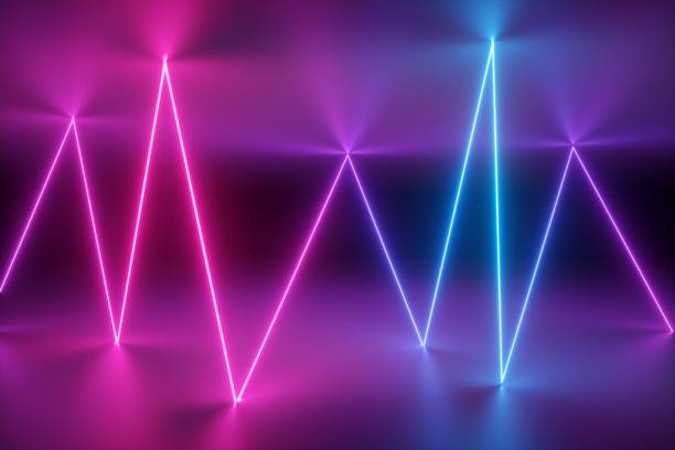 3d render, abstract background, neon lights, glowing, laser show, stage design, virtual reality environment, zigzag glowing line, ultraviolet spectrum, pink blue, vibrant colors stock photo