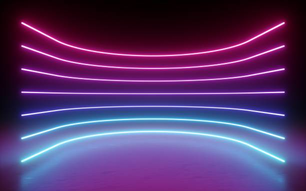3d render, abstract background, neon lights, glowing lines, round curves, arch, virtual reality, pink blue spectrum vibrant colors, laser show - spectrum stock pictures, royalty-free photos & images