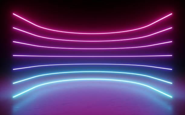 3d 렌더링, 추상적인 배경, 네온 조명, 빛나는 라인, 곡선, 아치, 가상 현실, 핑크 블루 스펙트럼 활기찬 색상, 라운드 레이저 쇼 - 자외선 차단 뉴스 사진 이미지