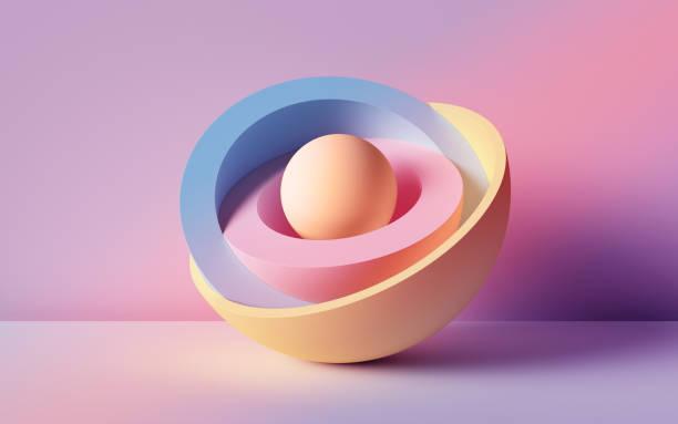 3d rendering, abstrakter hintergrund, pastellfarbene neonenkugeln, primitive geometrische formen, einfaches mockup, minimale gestaltungselemente - digital composite stock-fotos und bilder