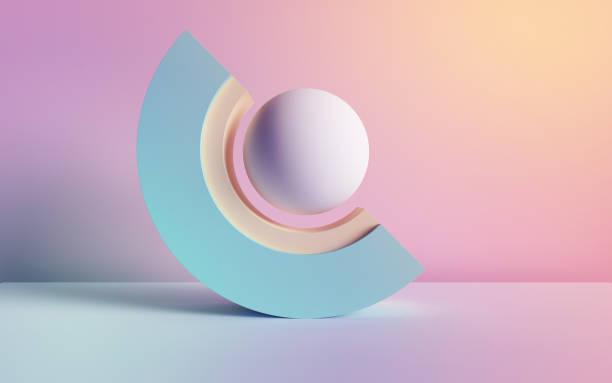 3d rendering, abstrakter hintergrund, pastellneon primitive geometrische formen, kugel, bogen, einfache mockup, minimale gestaltungselemente - digital composite stock-fotos und bilder