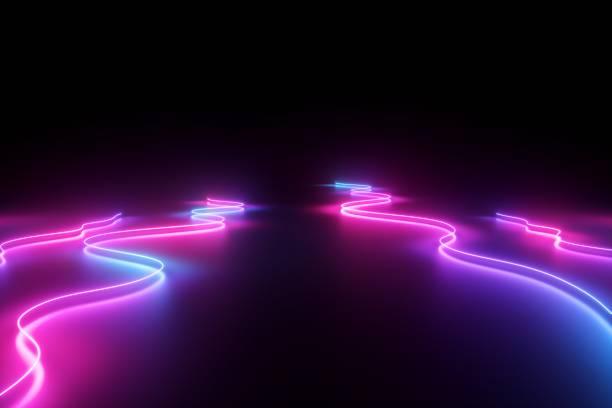 3d 渲染, 抽象的背景, 粉紅色的藍色霓虹燈, 發光的動態波浪線在地板上, 紫外線光譜 - 霓虹燈 個照片及圖片檔
