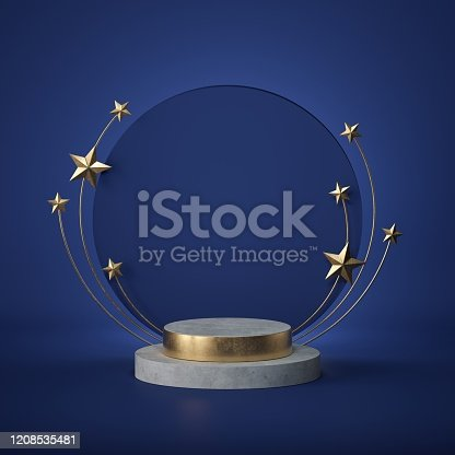 3d render. Abstract background. Round board, copy space, concrete cylinder steps, empty podium, vacant pedestal. Cosmic emblem. Award template, golden stars, isolated on blue background. Color of 2020