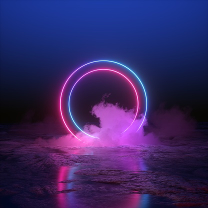 istock 3d render, abstract background, round portal, pink blue neon lights, virtual reality, circles, energy source, glowing rings, blank space, frame, ultraviolet spectrum, laser show, smoke, fog, ground 1058076636