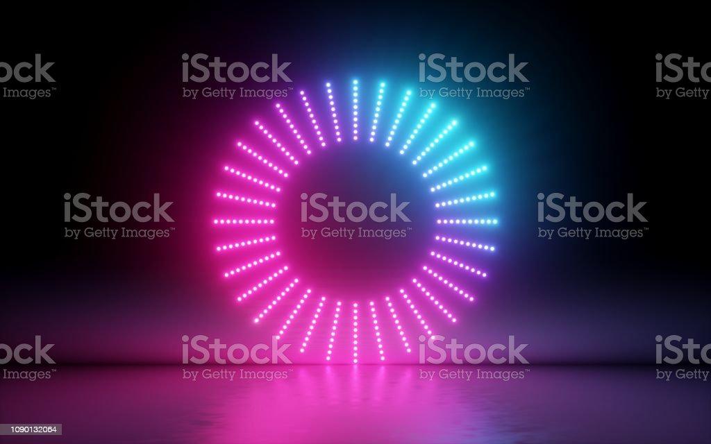 3d 渲染, 抽象背景, 圓形螢幕, 環, 發光點, 霓虹燈, 虛擬實境, 體積等化器介面, hud, 粉紅色藍色光譜, 鮮豔的顏色, 鐳射光碟, 地板反射 - 免版稅互聯網圖庫照片