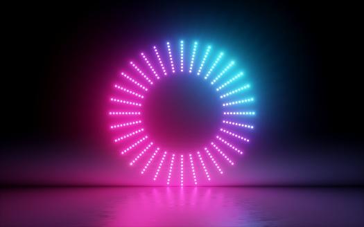 3d 渲染 抽象背景 圓形螢幕 環 發光點 霓虹燈 虛擬實境 體積等化器介面 Hud 粉紅色藍色光譜 鮮豔的顏色 鐳射光碟 地板反射 照片檔及更多 互聯網 照片