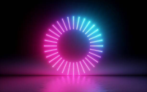 3d render, abstract background, round screen, ring, glowing dots, neon light, virtual reality, volume equalizer interface, hud, pink blue spectrum, vibrant colors, laser disc, floor reflection - spectrum stock pictures, royalty-free photos & images