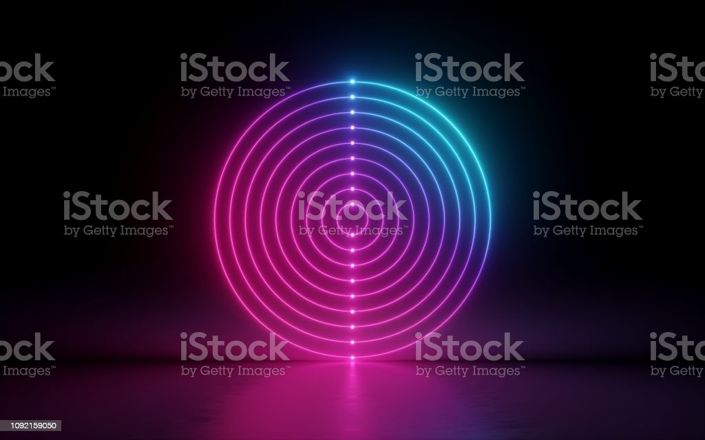 3d Render Abstract Background Round Screen Rings Glowing