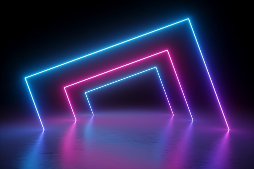 istock 3d render, abstract background, square portal, glowing lines, tunnel, neon lights, virtual reality, arch, pink blue spectrum vibrant colors, laser show, blank space, frame isolated on black 1058076680