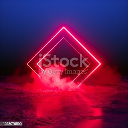 istock 3d render, abstract background, square portal, red neon lights, virtual reality, glowing lines, pink blue, ultraviolet spectrum, laser show, smoke, fog, terrain, ground 1058076590