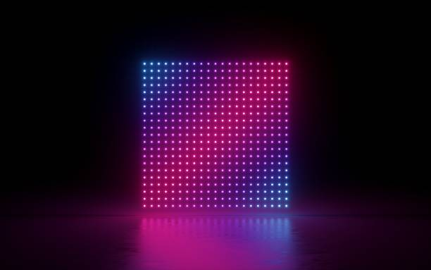 3d render, abstract background, square screen, pixels, neon lights, virtual reality, ultraviolet spectrum, pink blue vibrant colors, laser show fashion podium, isolated on black, floor reflection - led painel imagens e fotografias de stock