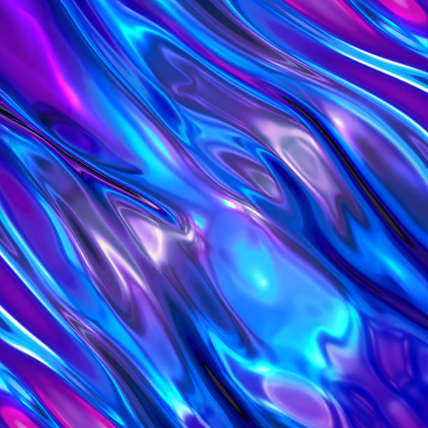 3d render, abstract background, ultraviolet holographic foil, iridescent blue texture, liquid petrol surface, ripples, metallic reflection, esoteric aura. for creative projects: cover, fashion, web - возвышенность стоковые фото и изображения