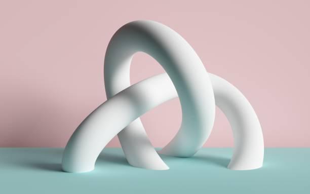 3d render, abstract background, white tubes, primitive geometric shapes, pastel color palette, simple mockup, minimal design elements - balance graphics foto e immagini stock